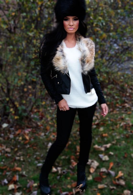 Gingerbread black leatherette faux fur collar jacket