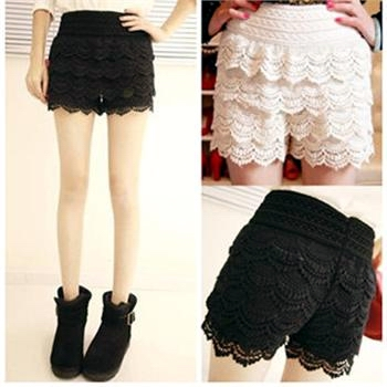 New sexy mini lace tiered skirts under safety pants shorts skorts black white