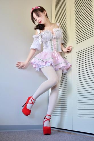 skirt corset top corset white white top pink pink skirt pastel pastel pink gyaru kawaii sweet adorable outfit adorable af tumblr high heels heels red high heels red heels cute skirt cute blouse white blouse ebay taobao aliexpress japan japanese japanese fashion harness