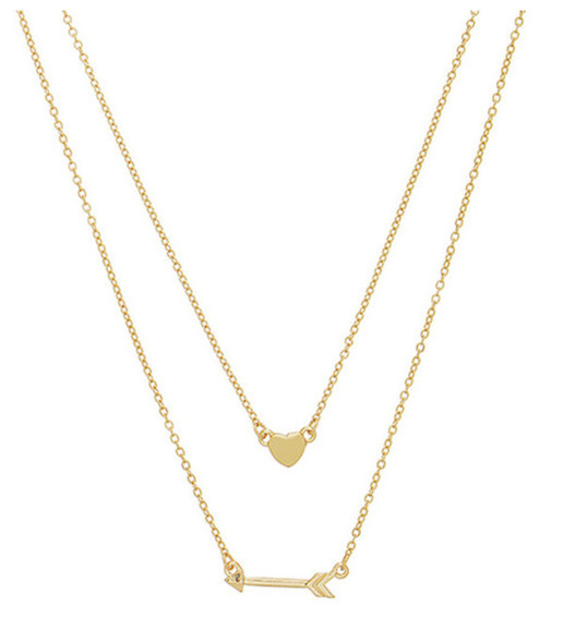gold jewels heart arrow necklace