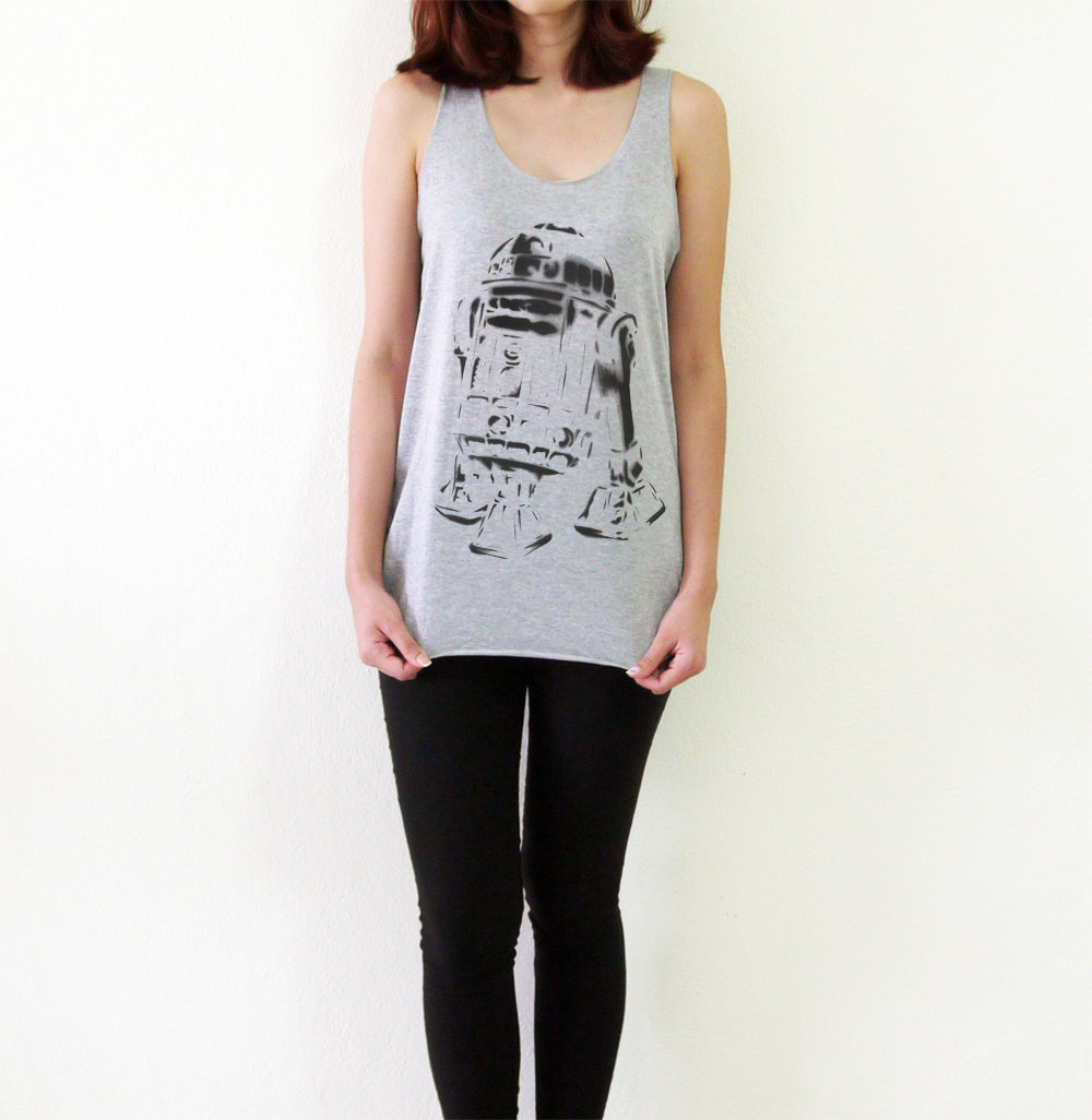 R2d2 shirt star wars shirt tank top t shirt women tshirt sleeveless tee shirts tops