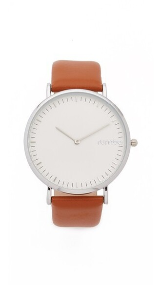watch leather brown jewels