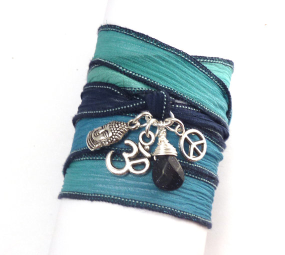 Boho chic silk wrap bracelet with buddha om by charmeddesign1012