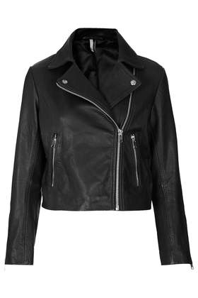 Boxy Leather Biker - Jackets & Coats  - Clothing  - Topshop USA