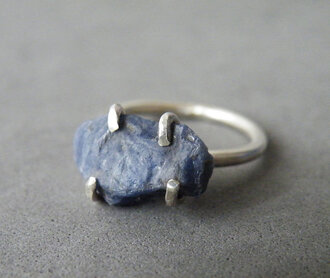 jewels silver ring silver blue wedding accessory raw stone gemstone silver jewelry engagement ring valentines day