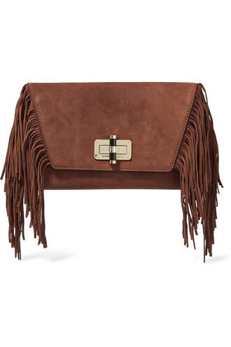 boho clutch suede light brown bag