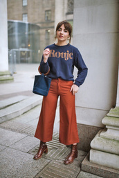 sweater,tumblr,rouje,blue sweater,pants,rust,culottes,bag,french girl style,boots,ankle boots,brown boots,blue bag