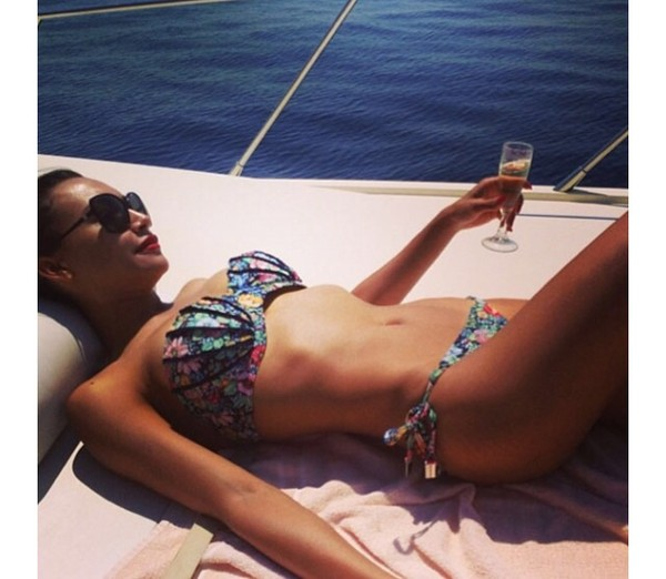 swimwear seashell bikini shell bikini skinny hot celebrity style sunglasses flowers
