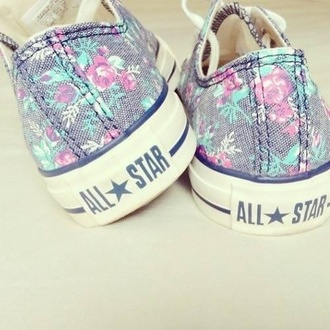 shoes allstars converse floral flowers girly fashion foot pink girl chuck taylor all stars purple mint blue all star floral shoes tennis shoes vintage blue shoes many colours allstars converse roses colorful