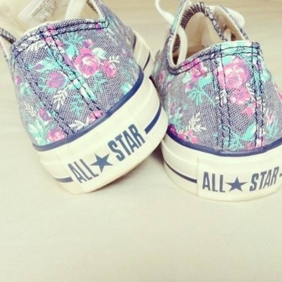 flowers shoes converse basket, allstars floral girly fashion foot pink all stars girl blue chucks flower purple mint all star