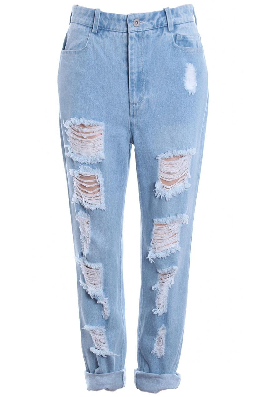 ROMWE Distressed Light Blue Jeans The Latest Street Fashion