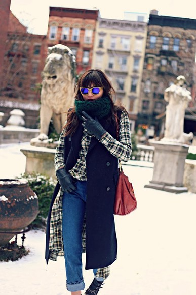 natalie off duty scarf shoes jeans sunglasses shirt jacket