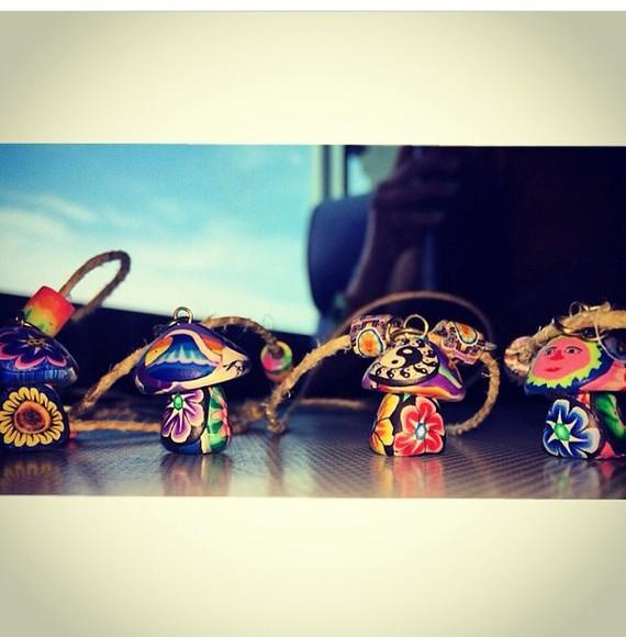 necklace mushroom jewels shroom shrooms hippe rainbow trippy yin yang moon sun sunflower beads
