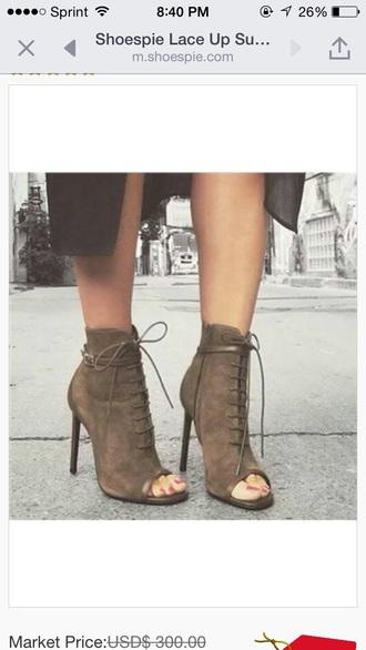 shoes heels taupe taupe heels lace up booties peep toe boots cute suede shoes sexy shoes fall accessories
