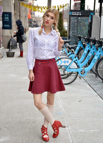 mermaid waves blogger striped skirt polka dots red shoes