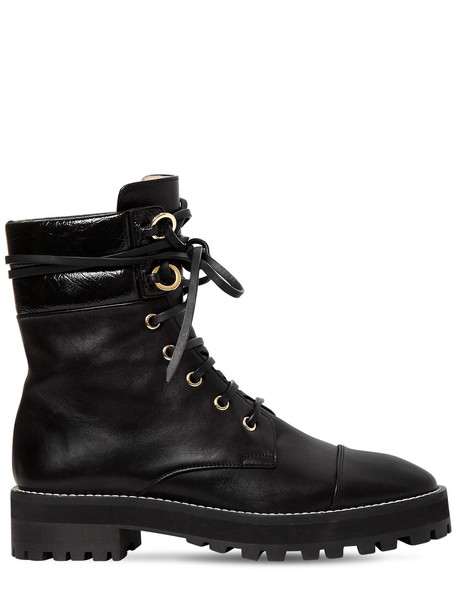 STUART WEITZMAN 30mm Lexy Nappa Leather Combat Boots in black
