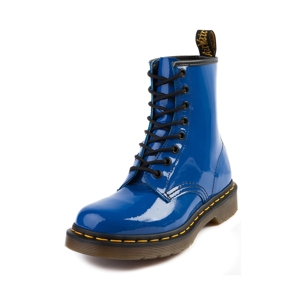 Womens Dr. Martens 8-Eye Boot, Blue Patent | Journeys Shoes