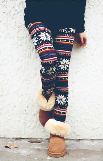 leggings tribal pattern winter leggings