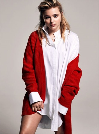 cardigan shirt red cardigan chloe grace moretz editorial