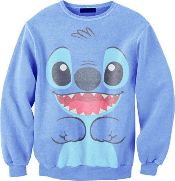 blue sweater stich sweater stitch lilo and stitch swag shirt disney blue cute