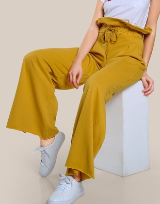 pants girly yellow mustard high waisted wide-leg pants trendy