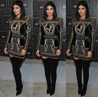 dress kylie jenner black dress gold
