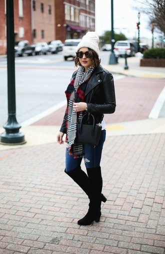 life & messy hair blogger jacket scarf shoes sunglasses jeans hat bag jewels winter outfits beanie boots black leather jacket black boots