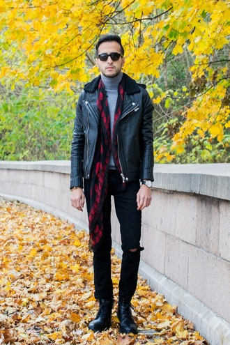 the metro man blogger scarf mens jacket mens jeans printed scarf mens leather jacket