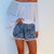 Cute Patterned Pom Pom Shorts - Loose Fit Navy Print with White pom pom's