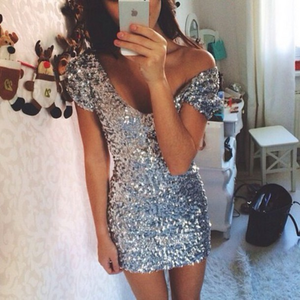 Hot fashion shining silver dress high quality