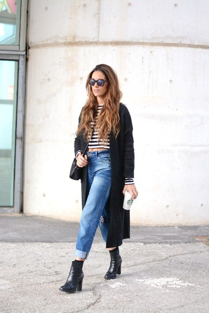 stella wants to die blogger cropped high waisted jeans knitted cardigan black boots cardigan jeans top sunglasses shoes bag