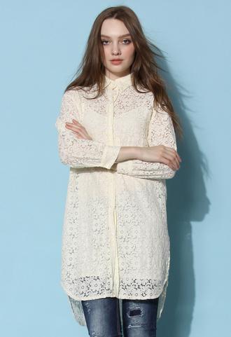 skirt chicwish lace shirt lace top chicwish.com lace top dress cream dress
