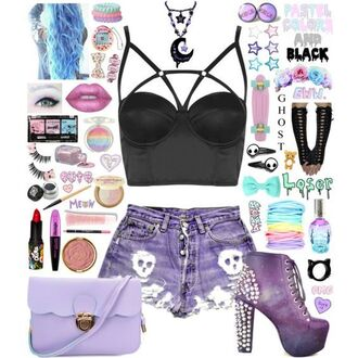 shoes pastel goth style me polyvore bad girls club baddies gothic grunge pastel grunge emo strappy bra topshop ripped shorts high waisted shorts crossbody bag satchel bag pastel asos 90s grunge weird etsy cats black ring gloves punk rock bow hot topic hair clip h&m stars skull kawaii dark creepy kawaii river island eye shadow lipstick dolls kill blush target rainbow make-up too faced sephora lip gloss lancome eyeliner mascara eyelashes lip liner givenchy hot skateboard penny board chunky flower crown kawaii grunge pinterest rilakkuma moon moon necklace tumblr weheartit girly grunge meow ghost blue hair dark glow in the dark