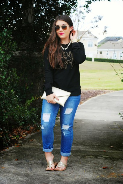madison lane blogger sunglasses clutch ripped jeans sandals top jeans jewels bag shoes
