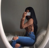 shirt,brown,top,lace up side top,blouse,suede,bodysuit,lace up,knees,strappy,sexy,hot,crop,crop tops,cropped,cut out crop top,cute top,cut-out,adidas,phone cover,iphone case,ripped jeans,ripped,jeans,high waisted jeans,high waisted,ootd,casual,cute,style,streetwear,lace,long sleeves,instagram,t-shirt,tumblr,outfit,knee ripped,skinny jeans