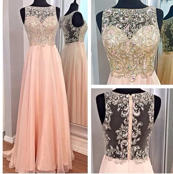 Wholesale Prom Dresses - Buy Luxury Applique Beading Crystal Prom Dresses Sheer Scoop See Through Zipper Back Floor Length A Line Chiffon Evening Gowns $111.0 | DHgate