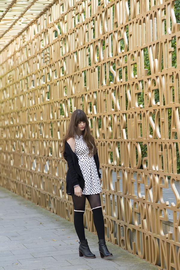 andy sparkles blogger cardigan socks dress polka dots
