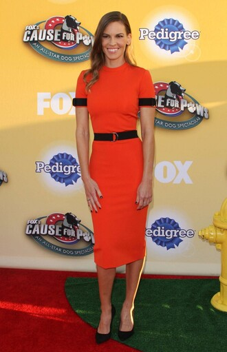dress coral coral dress fitted dress hilary swank