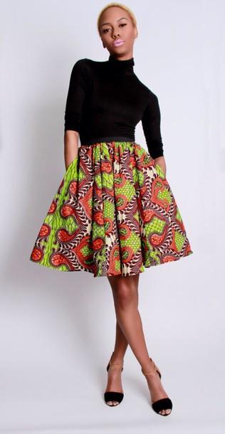 Skirt Circle Skirt Skater Skirt African Print Wheretoget