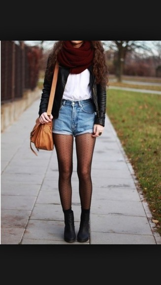 jacket denim shorts leather jacket tights black boots fall outfits burgundy scarf infinity scarf burgundy scarf bag