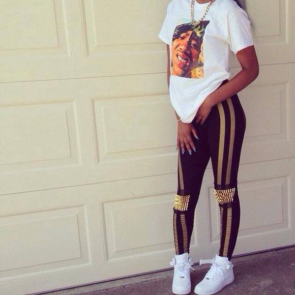 shoes spikes gold shirt pants leggings t-shirt bijoux nike