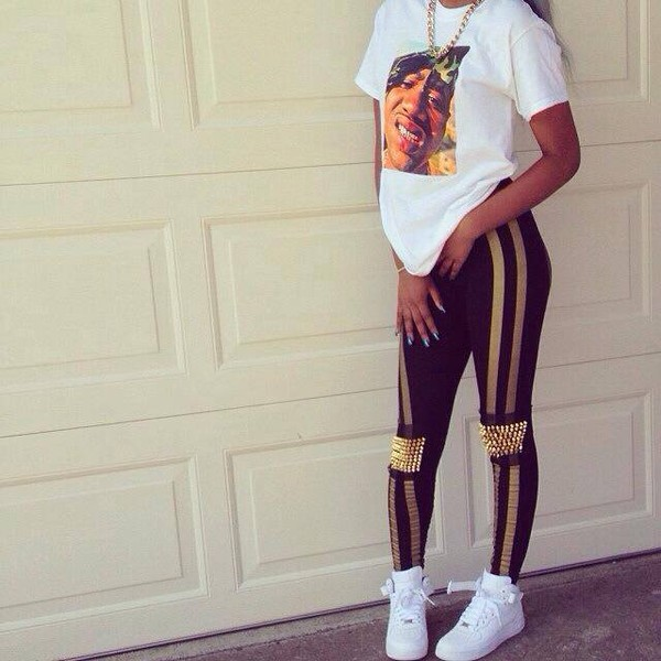 pants leggings gold spikes t-shirt bijoux nike shoes shirt