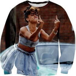 Online shop 2014 new fashion women/men funny print rihanna 3d hoodies finger pullovers sweat suit ancient galaxy sweatshirts top sport suits