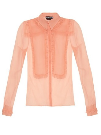shirt ruffle silk light pink light pink top