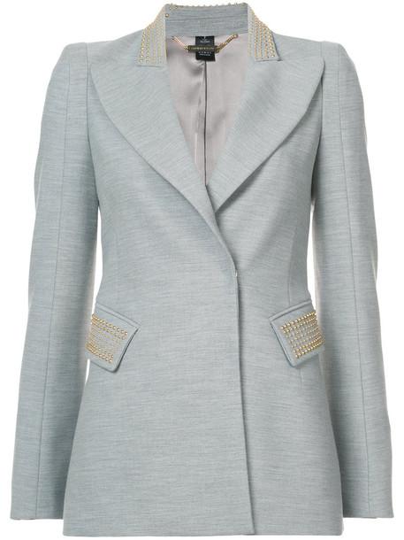 blazer women spandex embellished silk grey jacket