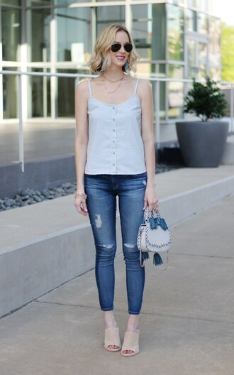 straight a style blogger jeans leggings tank top bag jewels mules spring outfits