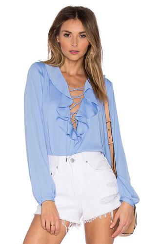 blouse boho ruffle blue