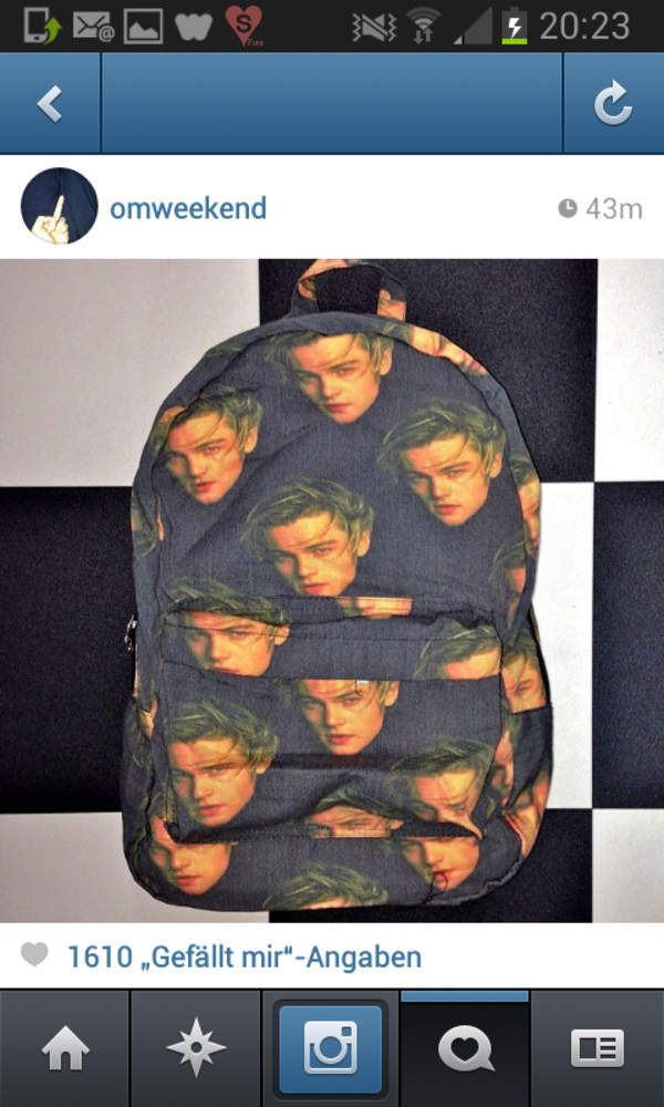 bag leonardo dicaprio backpack grunge vintage