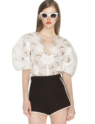 white lace top top lace blouses pixie market pixie market girl fall trends pre fall transitional pieces white blouses trendy tops back to school white lace blouse scalloped neckline fall outfits cute fashion