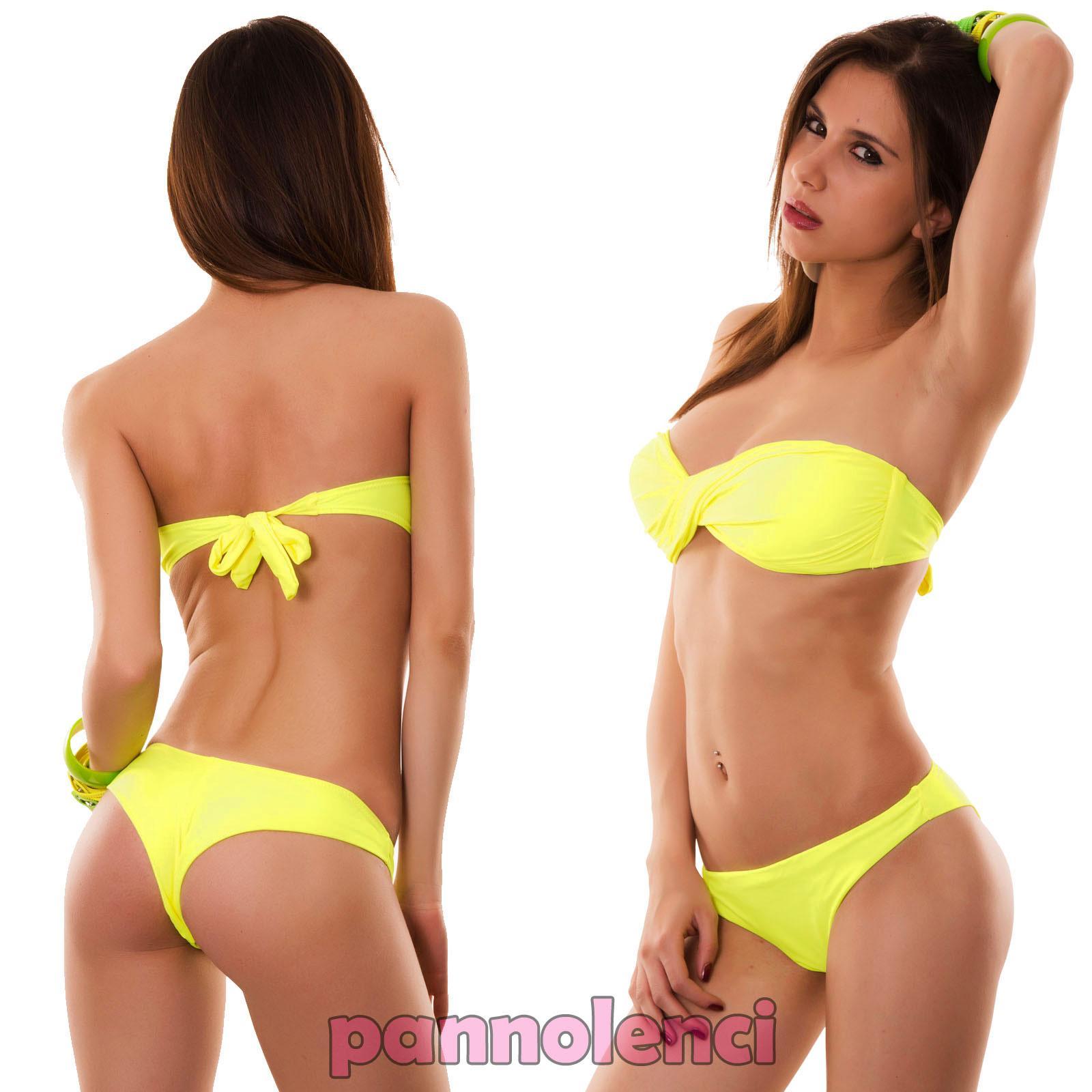 Bikini costume donna mare bagno swimwear fascia incrociata BRASILIANA B9801-1